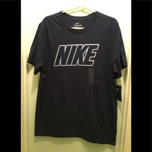 Nike Tee Shirt With Patched lettering Blue NWT